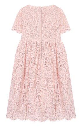 Детское платье DOLCE & GABBANA светло-розового цвета, арт. L52DP9/HLMEA/2-6 | Фото 2 (Материал внешний: Хлопок, Вискоза; Материал подклада: Шелк; Рукава: Короткие; Девочки Кросс-КТ: Платье-одежда; Ростовка одежда: 2 года | 92 см, 3 года | 98 см, 4 года | 104 см, 5 лет | 110 см, 6 лет | 116 см)