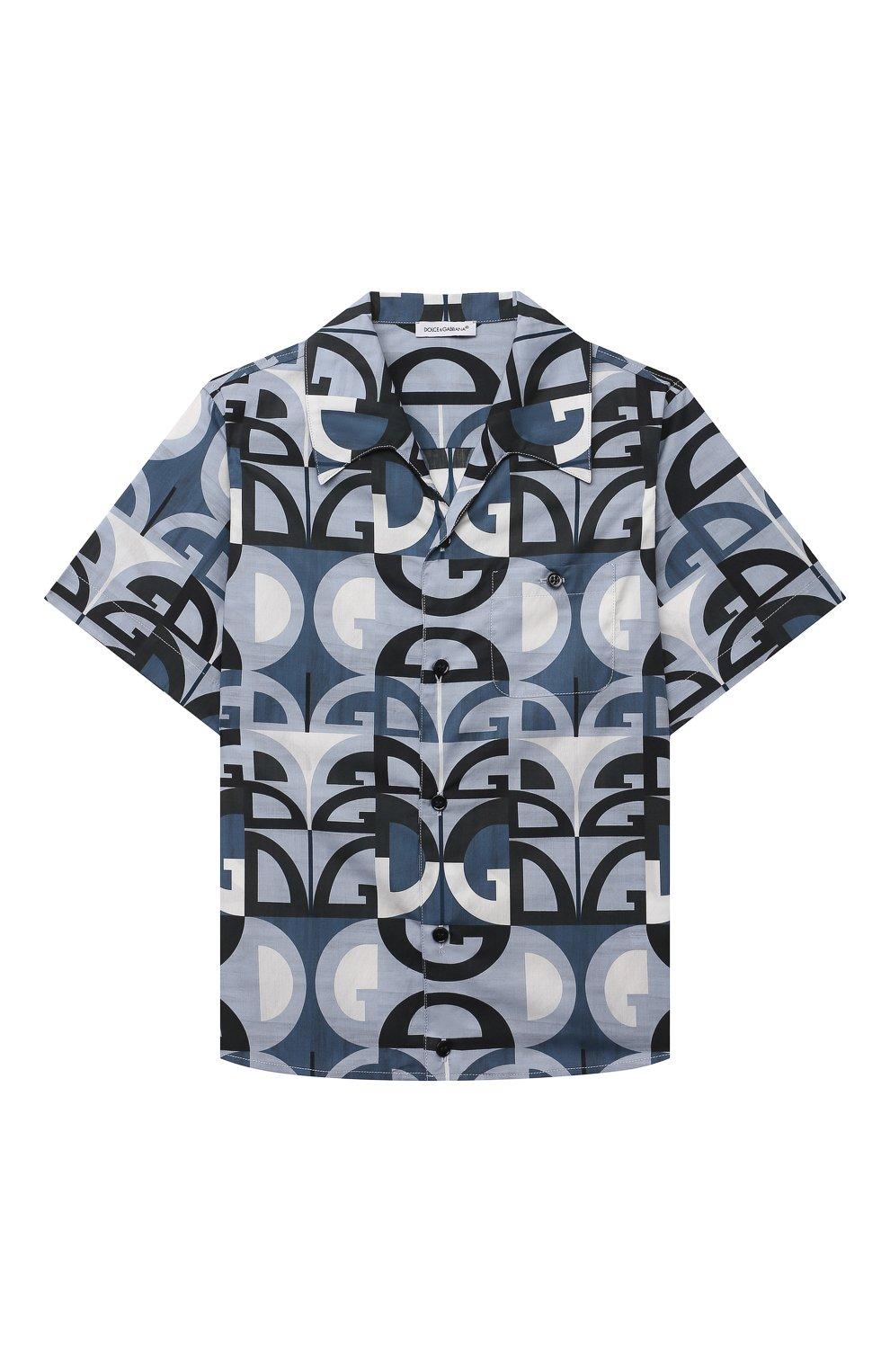 Детская хлопковая рубашка DOLCE & GABBANA голубого цвета, арт. L43S06/HS5H1/8-14 | Фото 1 (Рукава: Короткие; Случай: Повседневный; Материал внешний: Хлопок; Ростовка одежда: 10 - 11 лет | 140 - 146см, 12 лет | 152 см, 8 лет | 128 см)