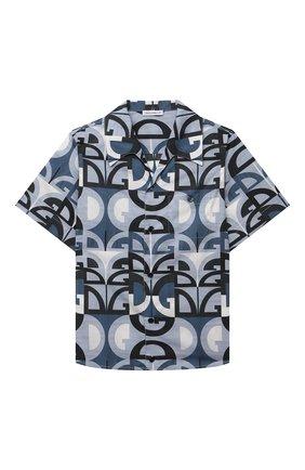 Детская хлопковая рубашка DOLCE & GABBANA голубого цвета, арт. L43S06/HS5H1/2-6 | Фото 1 (Случай: Повседневный; Материал внешний: Хлопок; Рукава: Короткие; Ростовка одежда: 2 года | 92 см, 3 года | 98 см, 4 года | 104 см, 5 лет | 110 см, 6 лет | 116 см)