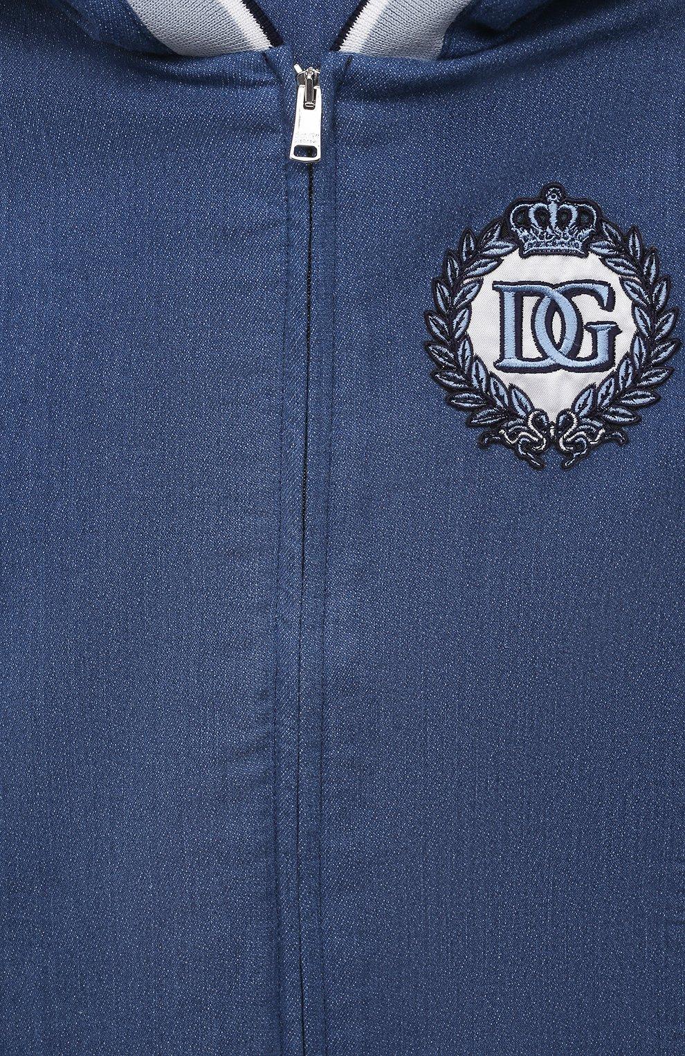 Детского джинсовая толстовка DOLCE & GABBANA голубого цвета, арт. L1JW1H/G7YDZ | Фото 3
