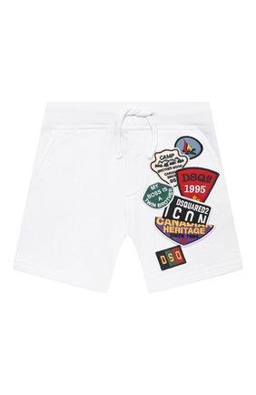 Детские хлопковые шорты DSQUARED2 белого цвета, арт. DQ0333-D003G | Фото 1