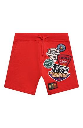 Детские хлопковые шорты DSQUARED2 красного цвета, арт. DQ0333-D003G | Фото 1