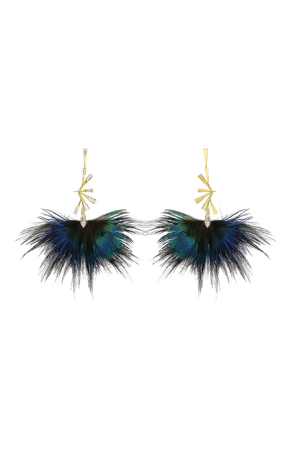 Женские серьги MIKE JOSEPH бесцветного цвета, арт. EAR238 | Фото 1 (Драгоценные камни: Бриллианты; Материал сплава: Желтое золото)
