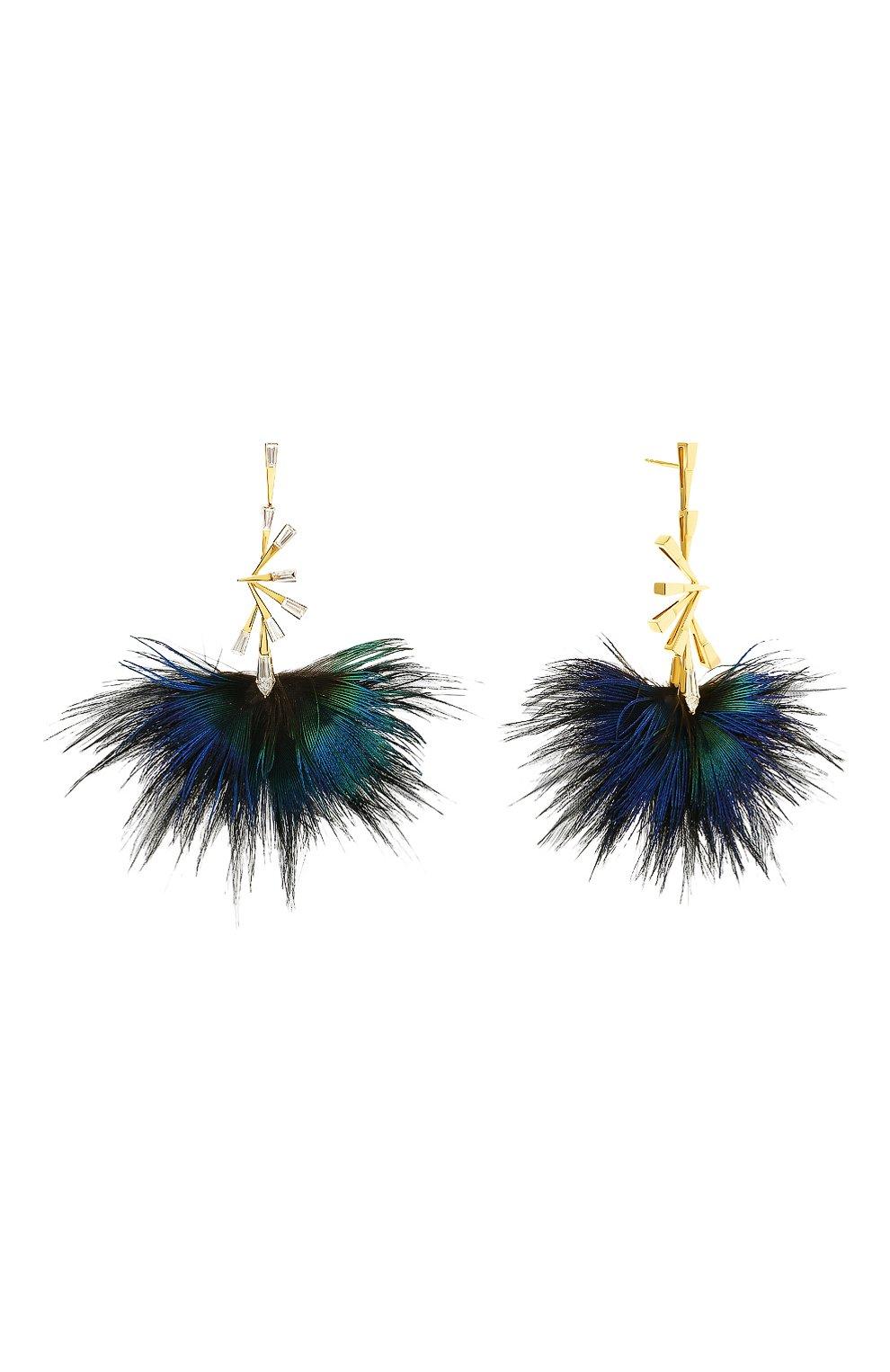 Женские серьги MIKE JOSEPH бесцветного цвета, арт. EAR238 | Фото 2 (Драгоценные камни: Бриллианты; Материал сплава: Желтое золото)