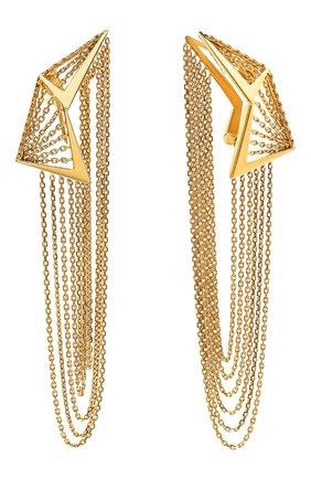 Женские серьги MIKE JOSEPH бесцветного цвета, арт. EAR251 | Фото 2 (Материал сплава: Желтое золото; Драгоценные камни: Без драгоценных камней)