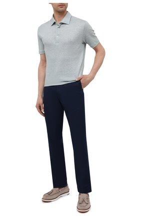Мужские брюки изо льна и хлопка POLO RALPH LAUREN темно-синего цвета, арт. 710794408 | Фото 2