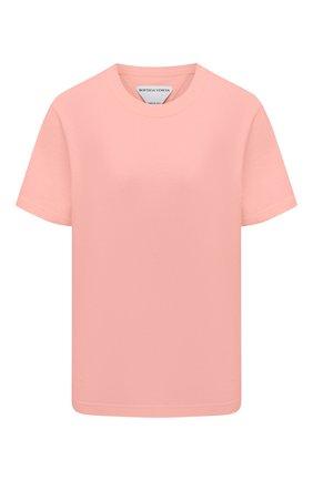 Женская хлопковая футболка BOTTEGA VENETA розового цвета, арт. 649060/VF1U0   Фото 1