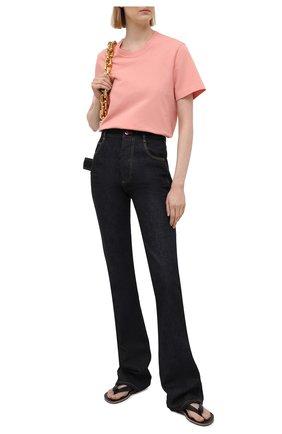 Женская хлопковая футболка BOTTEGA VENETA розового цвета, арт. 649060/VF1U0   Фото 2