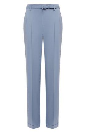 Женские шерстяные брюки RALPH LAUREN голубого цвета, арт. 290840158   Фото 1 (Длина (брюки, джинсы): Удлиненные; Силуэт Ж (брюки и джинсы): Прямые; Материал внешний: Шерсть; Стили: Романтичный; Женское Кросс-КТ: Брюки-одежда)
