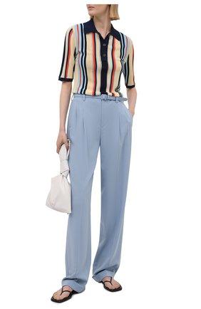 Женские шерстяные брюки RALPH LAUREN голубого цвета, арт. 290840158   Фото 2 (Длина (брюки, джинсы): Удлиненные; Силуэт Ж (брюки и джинсы): Прямые; Материал внешний: Шерсть; Стили: Романтичный; Женское Кросс-КТ: Брюки-одежда)