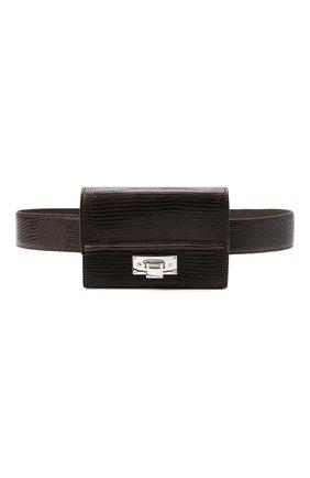 Женская поясная сумка hinge RALPH LAUREN темно-коричневого цвета, арт. 408841263 | Фото 1 (Стили: Классический; Размер: mini; Материал: Натуральная кожа)