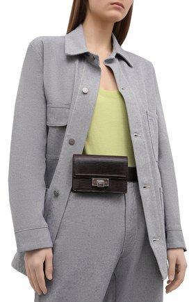 Женская поясная сумка hinge RALPH LAUREN темно-коричневого цвета, арт. 408841263 | Фото 2 (Стили: Классический; Размер: mini; Материал: Натуральная кожа)