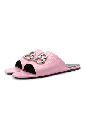Женские кожаные шлепанцы oval BALENCIAGA розового цвета, арт. 629537/WA9D3 | Фото 1 (Материал внутренний: Натуральная кожа; Подошва: Плоская; Материал внешний: Кожа)