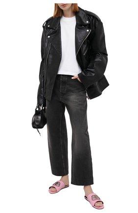 Женские кожаные шлепанцы oval BALENCIAGA розового цвета, арт. 629537/WA9D3 | Фото 2 (Материал внутренний: Натуральная кожа; Подошва: Плоская; Материал внешний: Кожа)