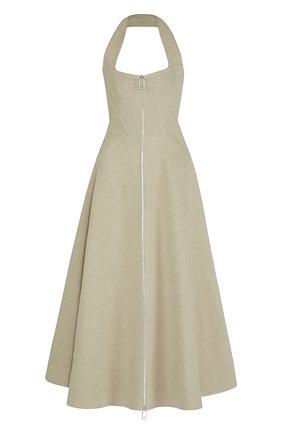 Женское льняное платье BOTTEGA VENETA бежевого цвета, арт. 656377/V0OE0   Фото 1