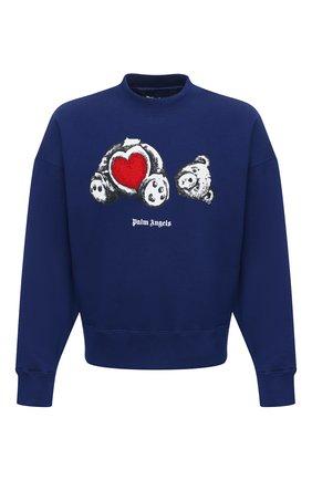Мужской хлопковый свитшот PALM ANGELS темно-синего цвета, арт. PMBA026S21FLE0084601 | Фото 1