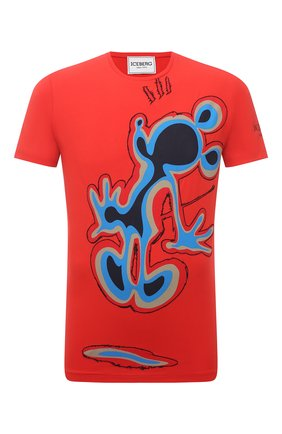 Мужская хлопковая футболка ICEBERG красного цвета, арт. 21E I1P0/F01G/6309 | Фото 1