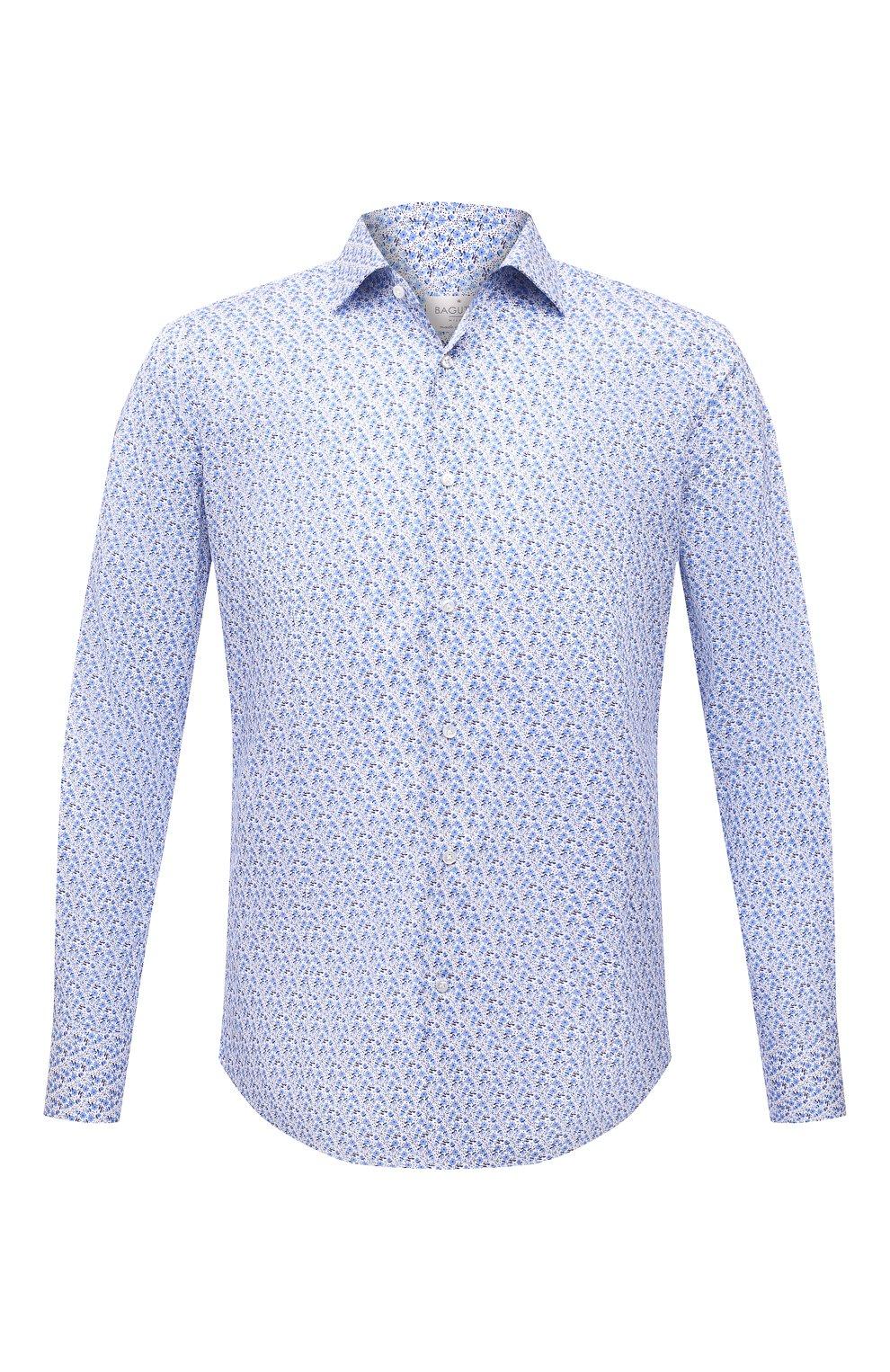 Мужская хлопковая сорочка BAGUTTA синего цвета, арт. MIAMI_EL/11101   Фото 1