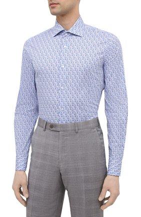 Мужская хлопковая сорочка BAGUTTA синего цвета, арт. MIAMI_EL/11101   Фото 3