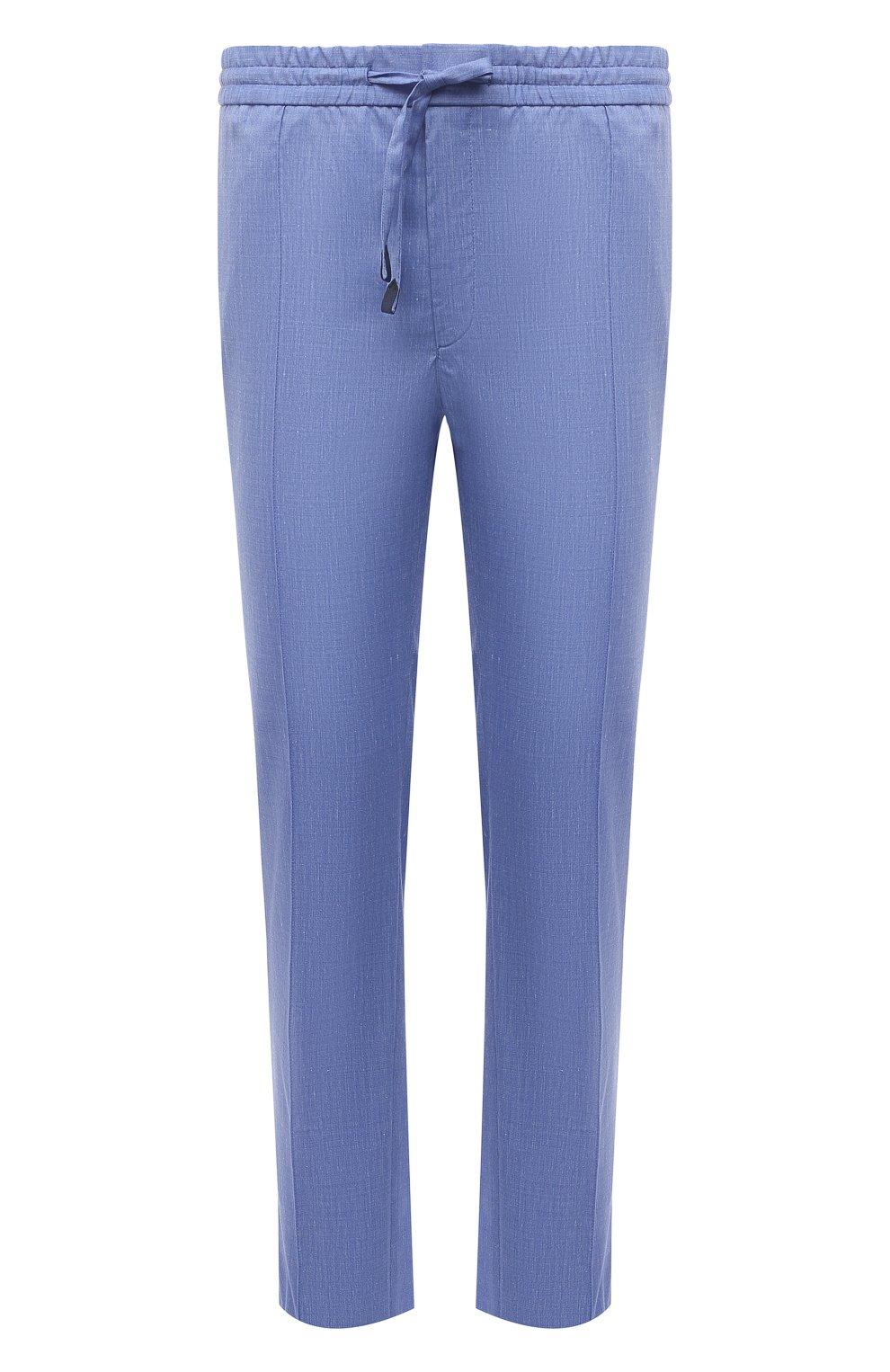 Мужские брюки из шерсти и льна BRIONI голубого цвета, арт. RPM20L/P9AB9/NEW SIDNEY   Фото 1 (Материал внешний: Шерсть; Длина (брюки, джинсы): Стандартные; Случай: Повседневный; Стили: Кэжуэл)