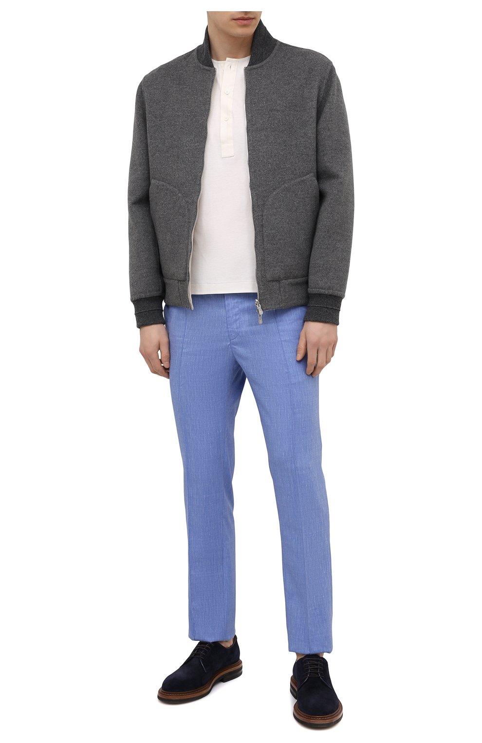 Мужские брюки из шерсти и льна BRIONI голубого цвета, арт. RPM20L/P9AB9/NEW SIDNEY   Фото 2 (Материал внешний: Шерсть; Длина (брюки, джинсы): Стандартные; Случай: Повседневный; Стили: Кэжуэл)
