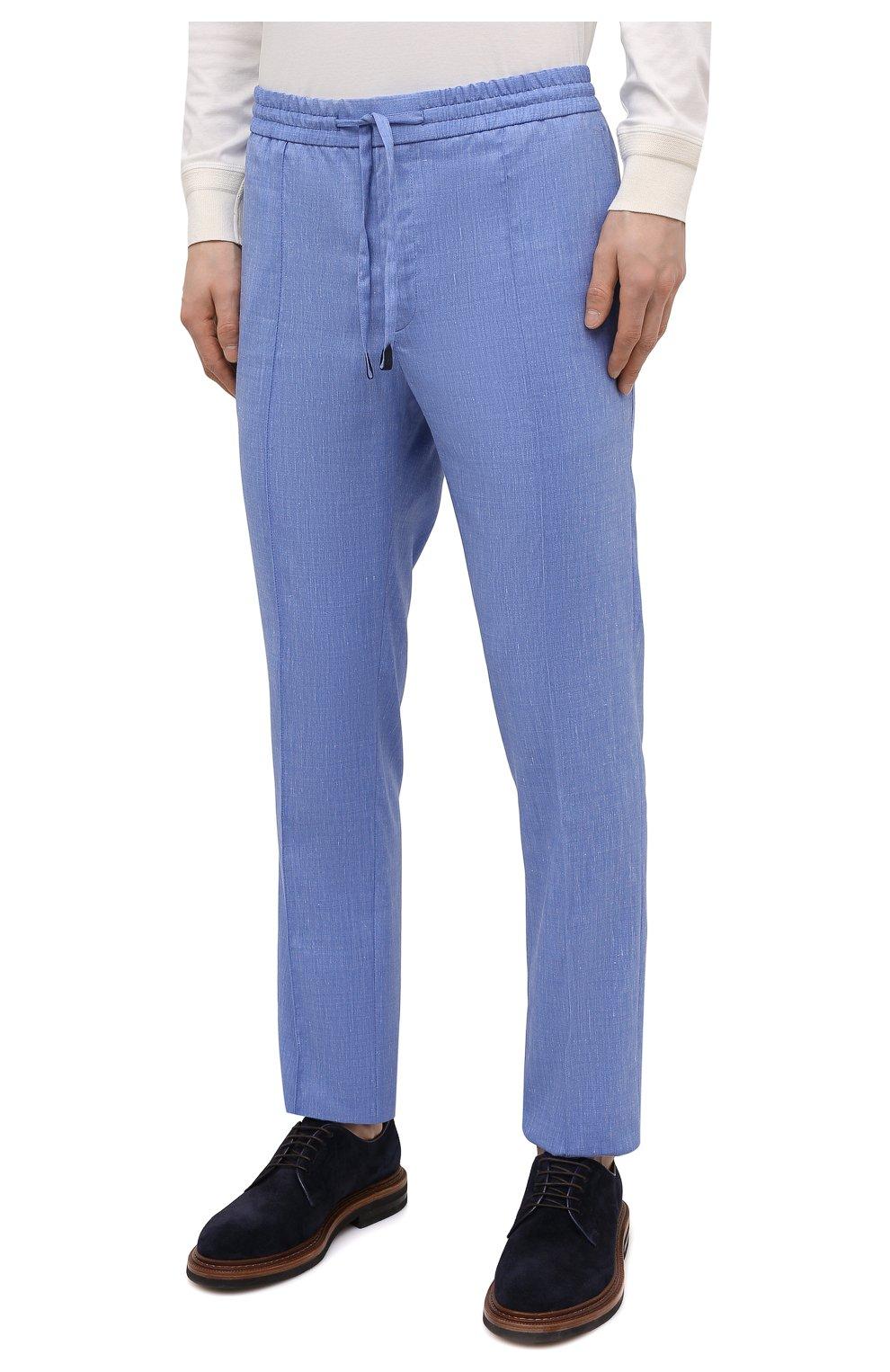 Мужские брюки из шерсти и льна BRIONI голубого цвета, арт. RPM20L/P9AB9/NEW SIDNEY   Фото 3 (Материал внешний: Шерсть; Длина (брюки, джинсы): Стандартные; Случай: Повседневный; Стили: Кэжуэл)
