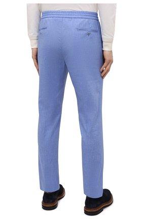 Мужские брюки из шерсти и льна BRIONI голубого цвета, арт. RPM20L/P9AB9/NEW SIDNEY   Фото 4 (Материал внешний: Шерсть; Длина (брюки, джинсы): Стандартные; Случай: Повседневный; Стили: Кэжуэл)