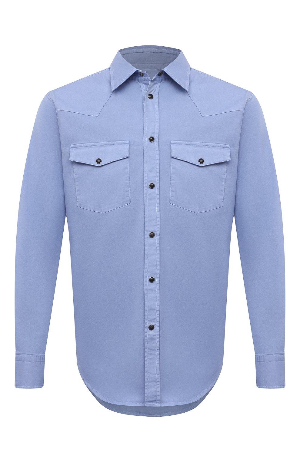 Мужская хлопковая рубашка BRIONI голубого цвета, арт. SCDQ0L/P8T01   Фото 1