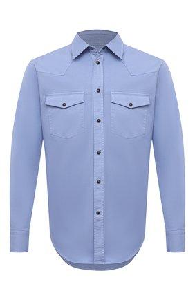 Мужская хлопковая рубашка BRIONI голубого цвета, арт. SCDQ0L/P8T01 | Фото 1
