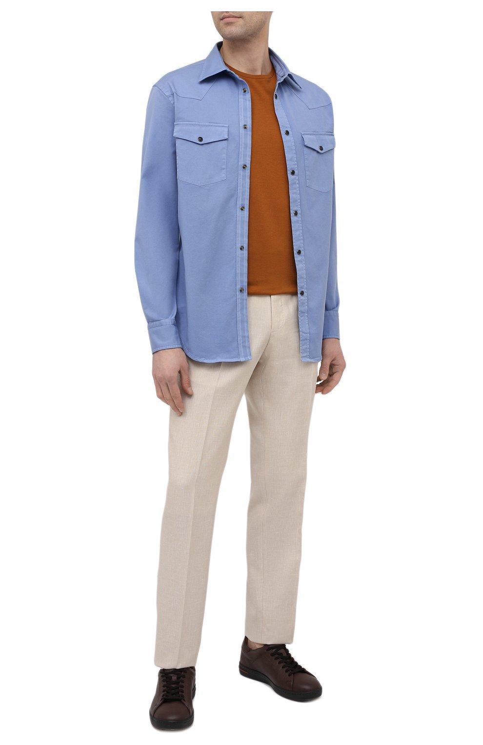 Мужская хлопковая рубашка BRIONI голубого цвета, арт. SCDQ0L/P8T01   Фото 2
