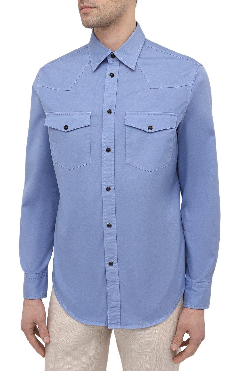 Мужская хлопковая рубашка BRIONI голубого цвета, арт. SCDQ0L/P8T01   Фото 3
