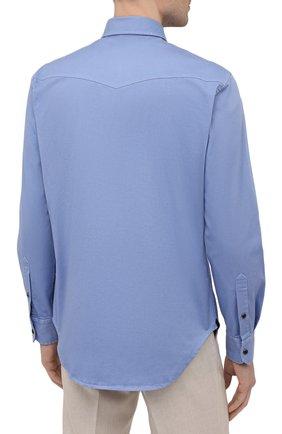 Мужская хлопковая рубашка BRIONI голубого цвета, арт. SCDQ0L/P8T01   Фото 4