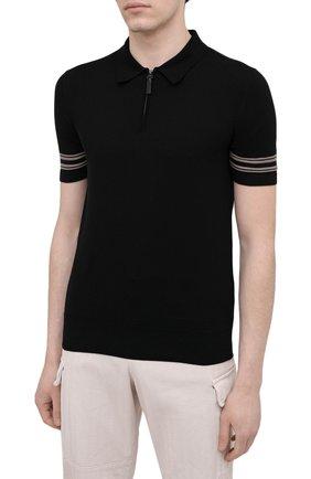 Мужское поло из хлопка и шелка BRIONI черного цвета, арт. UMS20L/P0K86   Фото 3