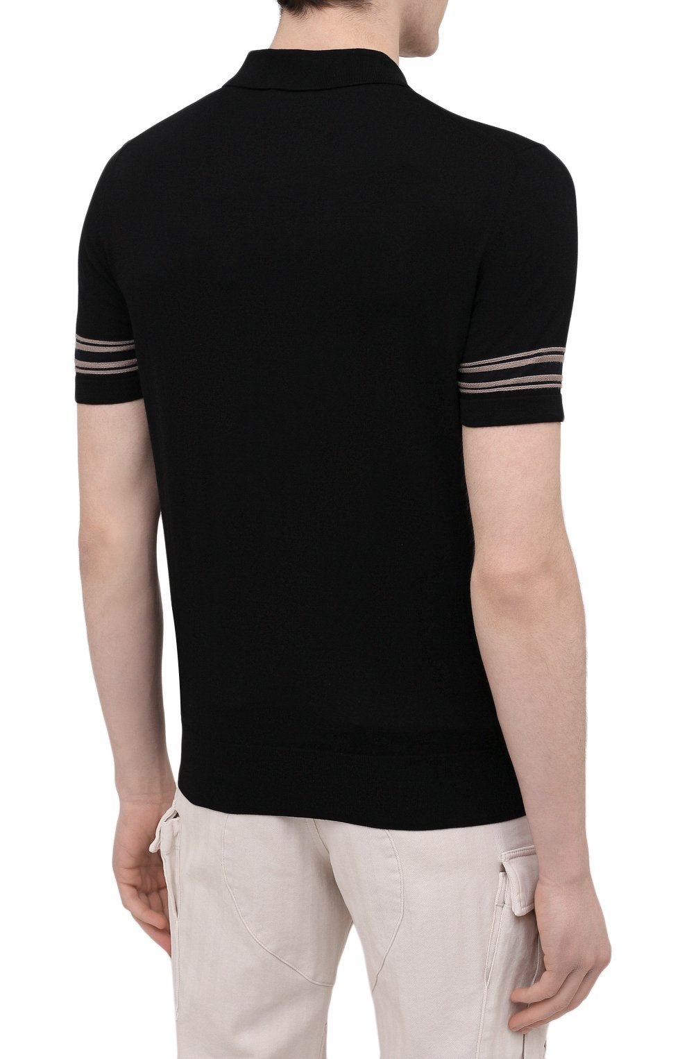 Мужское поло из хлопка и шелка BRIONI черного цвета, арт. UMS20L/P0K86   Фото 4
