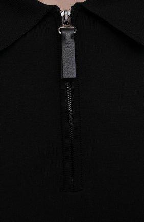 Мужское поло из хлопка и шелка BRIONI черного цвета, арт. UMS20L/P0K86   Фото 5