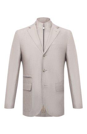 Мужской пиджак из шерсти и льна CORNELIANI светло-серого цвета, арт. 87X595-1118360/90   Фото 1