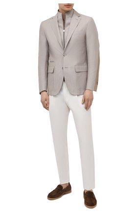 Мужской пиджак из шерсти и льна CORNELIANI светло-серого цвета, арт. 87X595-1118360/90   Фото 2
