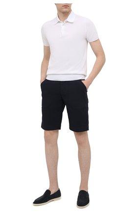 Мужские хлопковые шорты CORNELIANI темно-синего цвета, арт. 874EC1-1120134/00 | Фото 2 (Принт: Без принта; Длина Шорты М: До колена; Материал внешний: Хлопок; Стили: Кэжуэл; Мужское Кросс-КТ: Шорты-одежда)