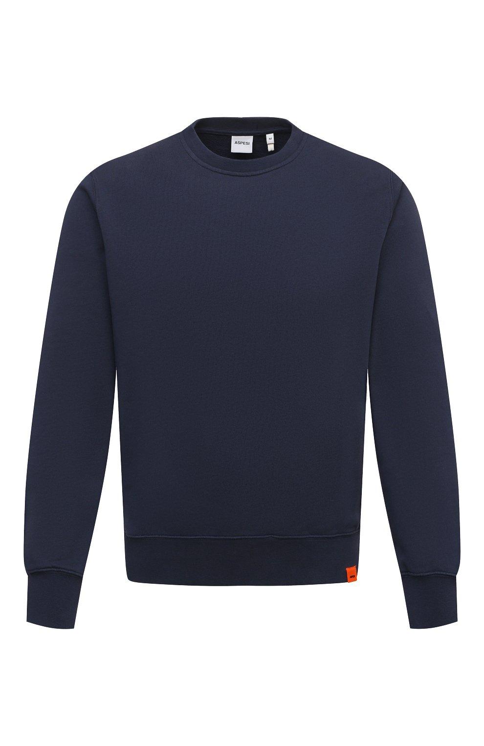 Мужской хлопковый свитшот ASPESI темно-синего цвета, арт. S1 A AY40 G455   Фото 1 (Рукава: Длинные; Принт: Без принта; Длина (для топов): Стандартные; Мужское Кросс-КТ: свитшот-одежда; Материал внешний: Хлопок; Стили: Кэжуэл)