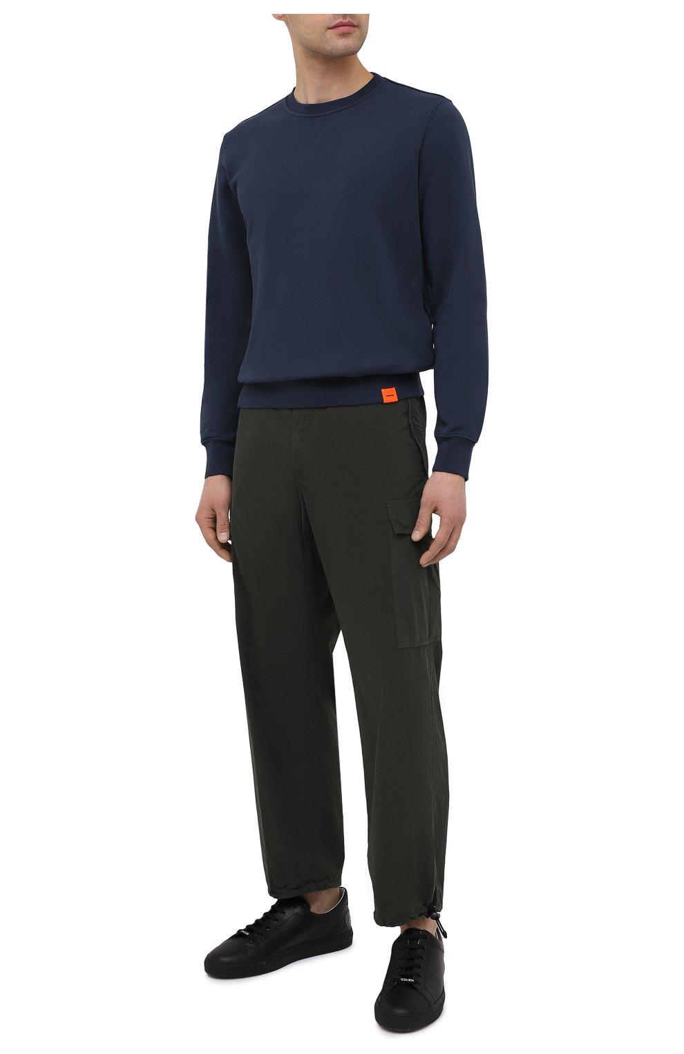 Мужской хлопковый свитшот ASPESI темно-синего цвета, арт. S1 A AY40 G455   Фото 2 (Рукава: Длинные; Принт: Без принта; Длина (для топов): Стандартные; Мужское Кросс-КТ: свитшот-одежда; Материал внешний: Хлопок; Стили: Кэжуэл)