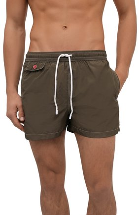 Мужские плавки-шорты KITON хаки цвета, арт. UC0M2CX07T09 | Фото 2