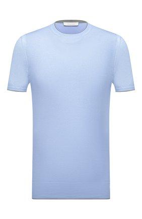 Мужской джемпер из хлопка и шелка CRUCIANI голубого цвета, арт. CU5590.G32   Фото 1