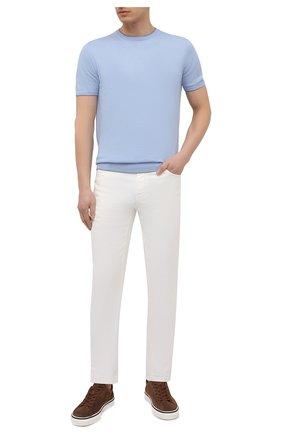 Мужской джемпер из хлопка и шелка CRUCIANI голубого цвета, арт. CU5590.G32   Фото 2