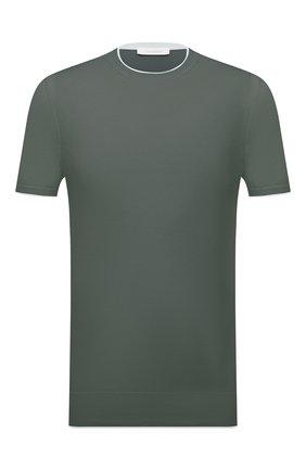 Мужской джемпер из хлопка и шелка CRUCIANI зеленого цвета, арт. CU5590.G32   Фото 1