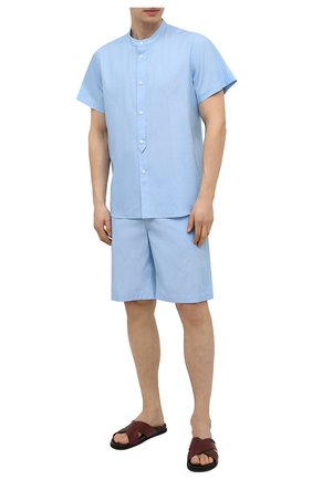Мужская хлопковая пижама ZIMMERLI голубого цвета, арт. 4030-75411 | Фото 1 (Кросс-КТ: домашняя одежда; Рукава: Короткие; Материал внешний: Хлопок; Длина (для топов): Стандартные)