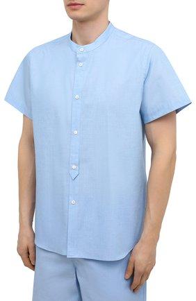 Мужская хлопковая пижама ZIMMERLI голубого цвета, арт. 4030-75411 | Фото 2 (Кросс-КТ: домашняя одежда; Рукава: Короткие; Материал внешний: Хлопок; Длина (для топов): Стандартные)