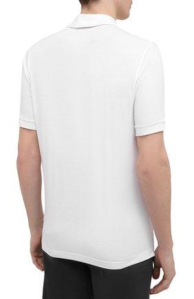 Мужское поло из вискозы GIORGIO ARMANI белого цвета, арт. 3KSF57/SJP4Z   Фото 4 (Застежка: Пуговицы; Рукава: Короткие; Длина (для топов): Стандартные; Материал внешний: Вискоза; Стили: Кэжуэл)