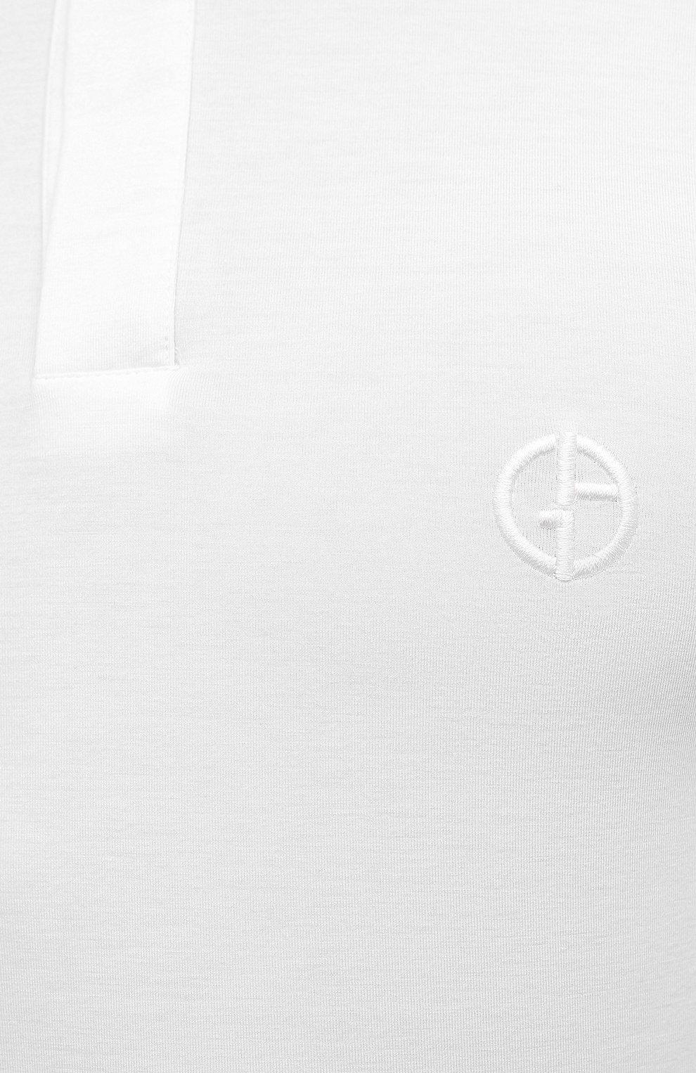 Мужское поло из вискозы GIORGIO ARMANI белого цвета, арт. 3KSF57/SJP4Z   Фото 5 (Застежка: Пуговицы; Рукава: Короткие; Длина (для топов): Стандартные; Материал внешний: Вискоза; Стили: Кэжуэл)