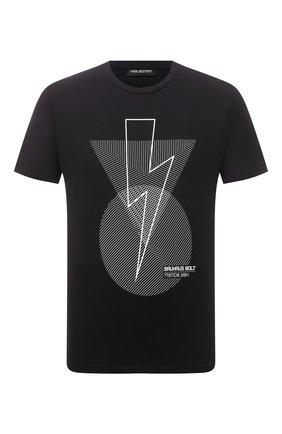 Мужская хлопковая футболка NEIL BARRETT черного цвета, арт. PBJT913S/Q532S | Фото 1
