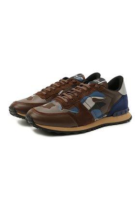 Мужские комбинированные кроссовки rockrunner VALENTINO коричневого цвета, арт. VY0S0723/TCC   Фото 1